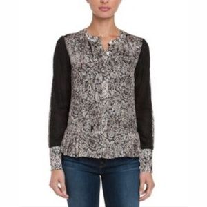 New Magaschoni Tapestry Lace Print Pleated Blouse